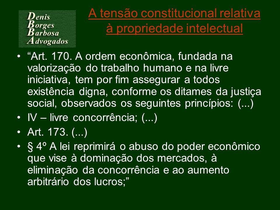 A tensão constitucional relativa à propriedade intelectual Art. 170. A ordem econômica, fundada na valorização do trabalho humano e na livre iniciativ