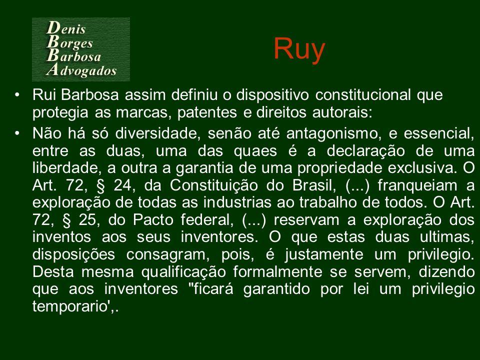 Ruy Rui Barbosa assim definiu o dispositivo constitucional que protegia as marcas, patentes e direitos autorais: Não há só diversidade, senão até anta