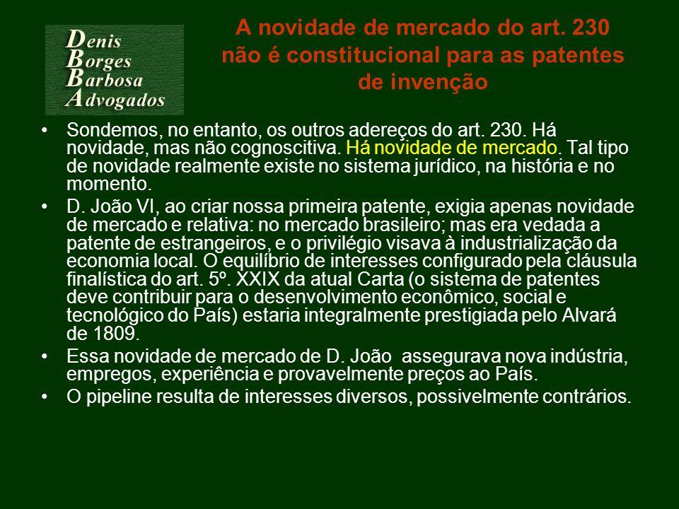 A novidade de mercado do art. 230 não é constitucional para as patentes de invenção Sondemos, no entanto, os outros adereços do art. 230. Há novidade,