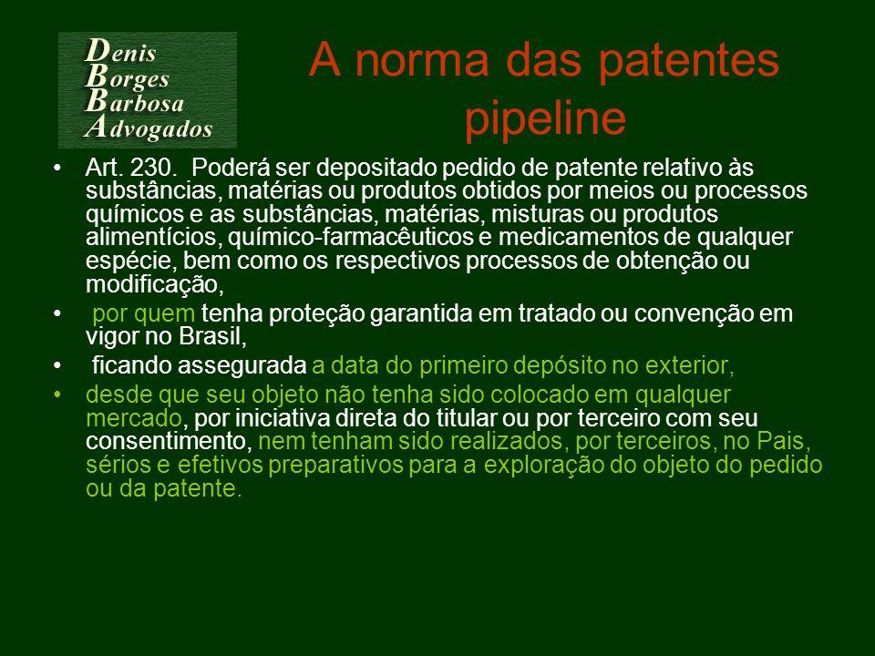 A norma das patentes pipeline Art. 230. Poderá ser depositado pedido de patente relativo às substâncias, matérias ou produtos obtidos por meios ou pro