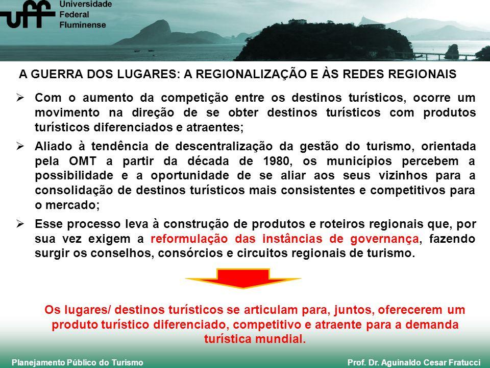 Planejamento Público do Turismo Prof. Dr. Aguinaldo Cesar Fratucci A GUERRA DOS LUGARES: A REGIONALIZAÇÃO E ÀS REDES REGIONAIS Com o aumento da compet