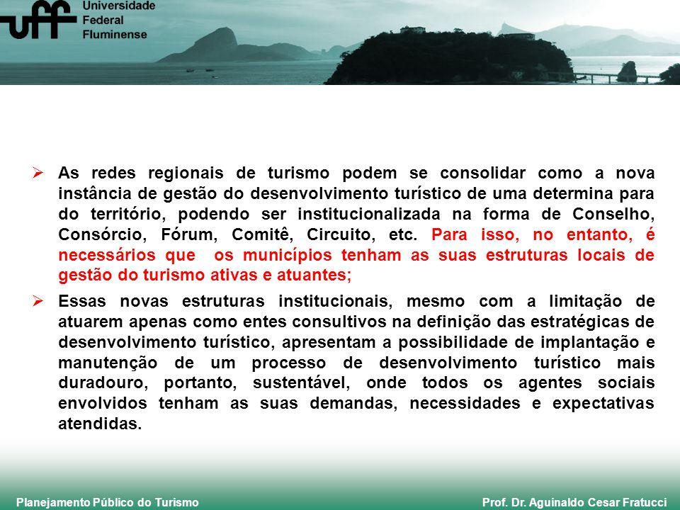 Planejamento Público do Turismo Prof. Dr. Aguinaldo Cesar Fratucci As redes regionais de turismo podem se consolidar como a nova instância de gestão d