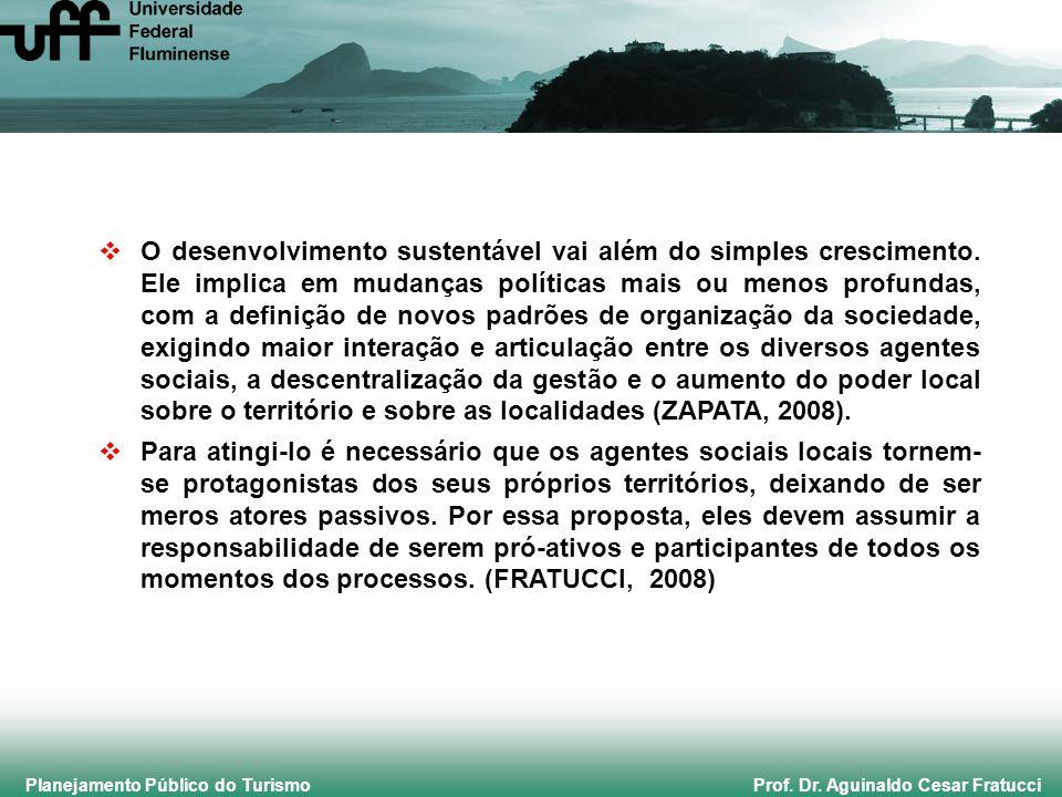 Planejamento Público do Turismo Prof. Dr. Aguinaldo Cesar Fratucci O desenvolvimento sustentável vai além do simples crescimento. Ele implica em mudan