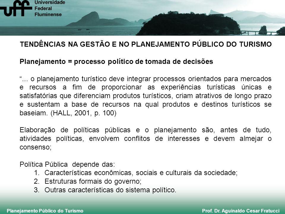 Planejamento Público do Turismo Prof. Dr. Aguinaldo Cesar Fratucci TENDÊNCIAS NA GESTÃO E NO PLANEJAMENTO PÚBLICO DO TURISMO Planejamento = processo p