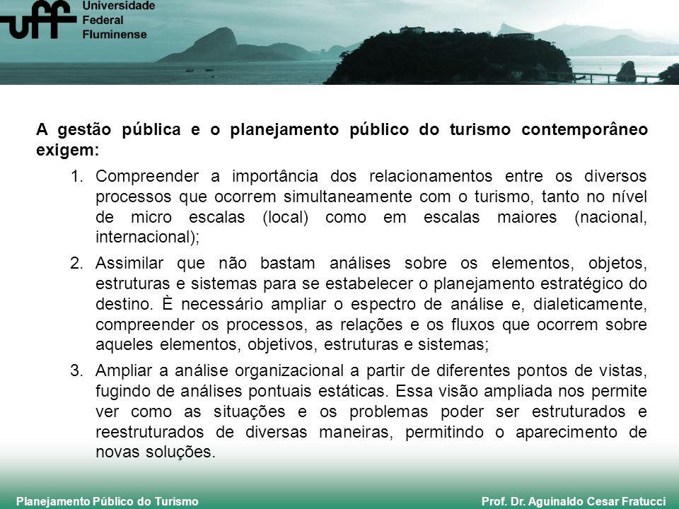 Planejamento Público do Turismo Prof. Dr. Aguinaldo Cesar Fratucci A gestão pública e o planejamento público do turismo contemporâneo exigem: 1.Compre
