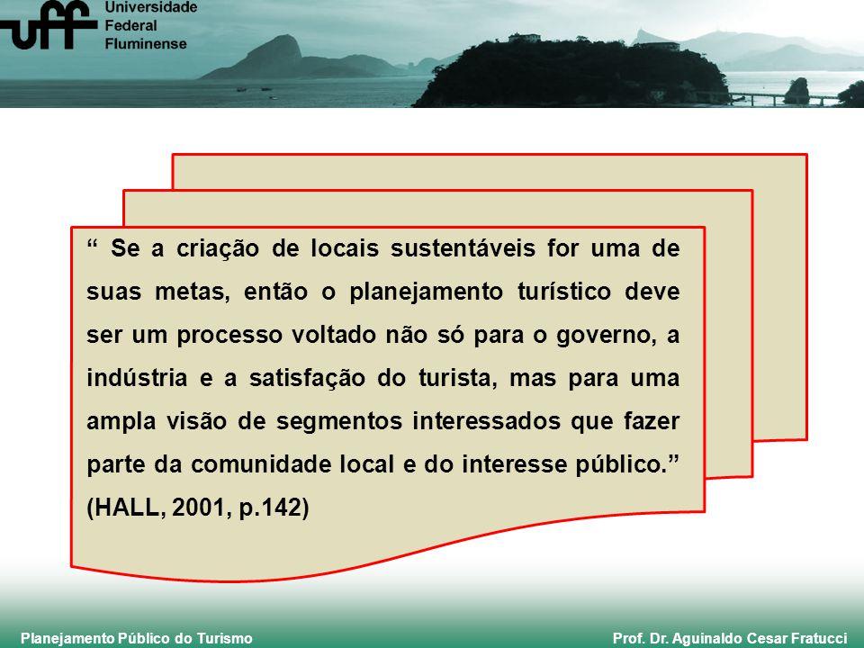Planejamento Público do Turismo Prof. Dr. Aguinaldo Cesar Fratucci Se a criação de locais sustentáveis for uma de suas metas, então o planejamento tur