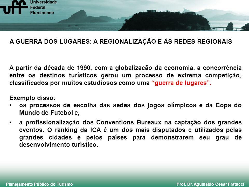 Planejamento Público do Turismo Prof. Dr. Aguinaldo Cesar Fratucci A GUERRA DOS LUGARES: A REGIONALIZAÇÃO E ÀS REDES REGIONAIS A partir da década de 1