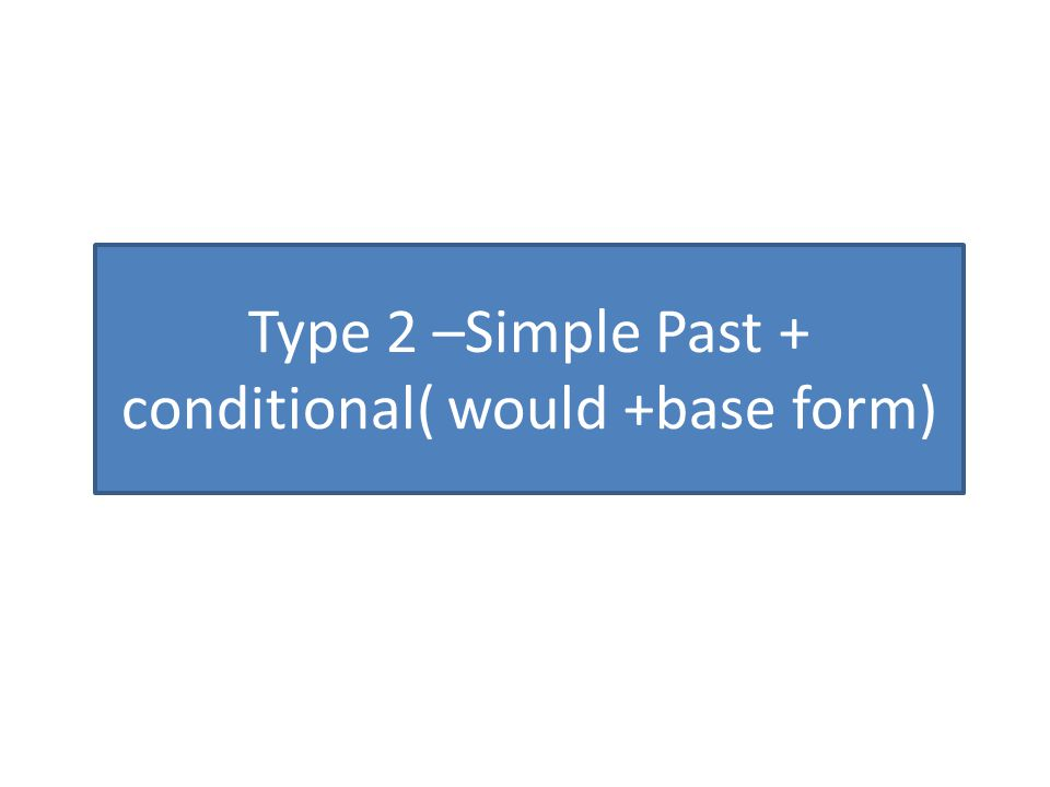 Type 2 –Simple Past + conditional( would +base form)