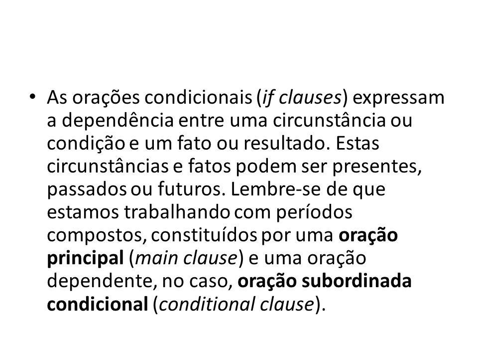 As orações condicionais (if clauses) expressam a dependência entre uma circunstância ou condição e um fato ou resultado. Estas circunstâncias e fatos