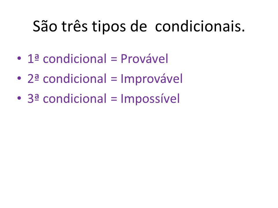 São três tipos de condicionais. 1ª condicional = Provável 2ª condicional = Improvável 3ª condicional = Impossível