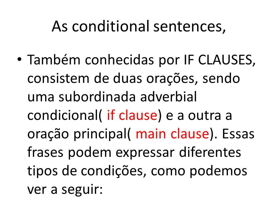 As conditional sentences, Também conhecidas por IF CLAUSES, consistem de duas orações, sendo uma subordinada adverbial condicional( if clause) e a out