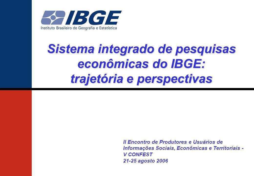 Sistema integrado de pesquisas econômicas do IBGE: trajetória e perspectivas II Encontro de Produtores e Usuários de Informações Sociais, Econômicas e Territoriais - V CONFEST 21-25 agosto 2006