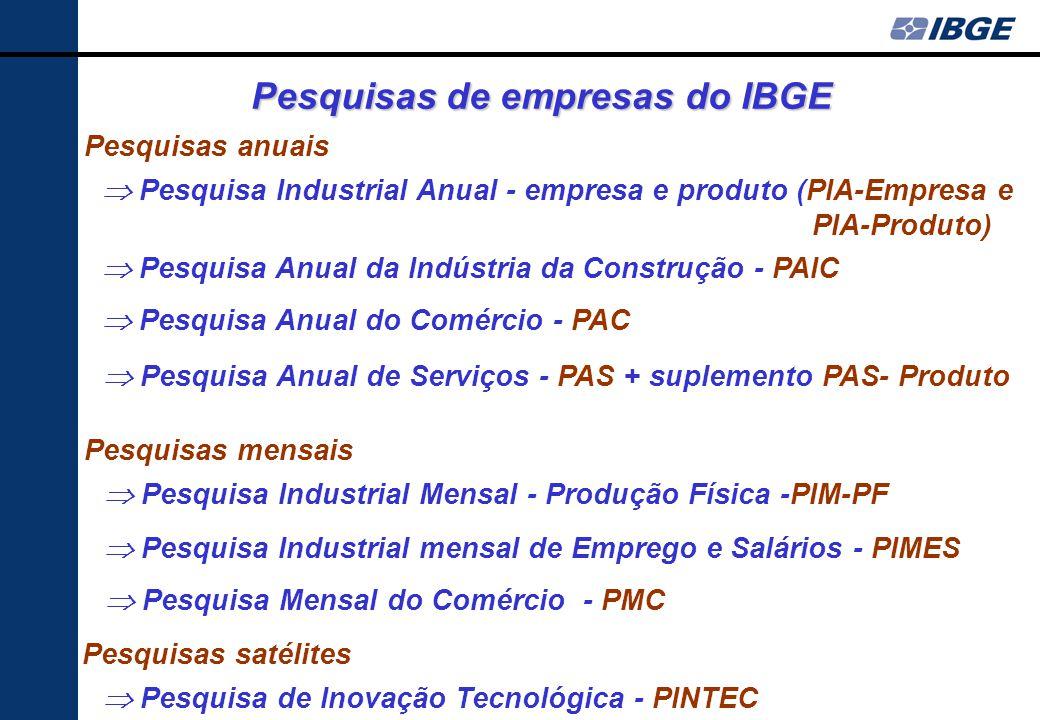 Composição dos subsistemas das pesquisas econômicas do IBGE - Descrição geral foco central: dados sobre a estrutura produtiva, para suporte prioritári