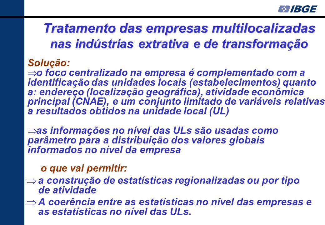 A diversificação setorial é particularmente intensa nas grandes empresas industriais: segundo a PIA 2004, as empresa industriais em mais de uma Divisã