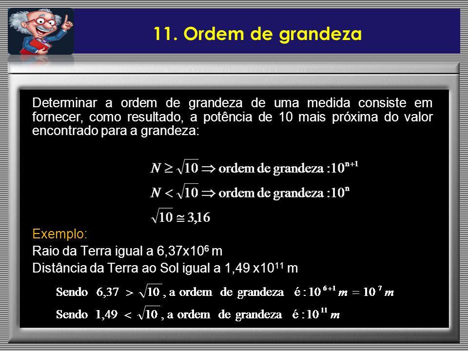 Determinar a ordem de grandeza de uma medida consiste em fornecer, como resultado, a potência de 10 mais próxima do valor encontrado para a grandeza: