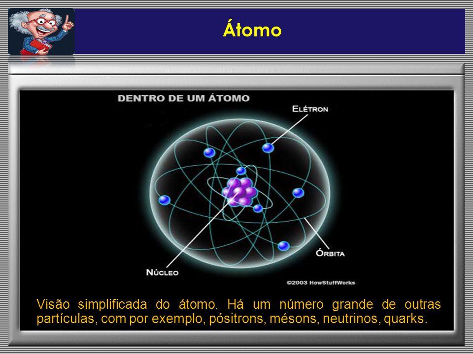 Visão simplificada do átomo. Há um número grande de outras partículas, com por exemplo, pósitrons, mésons, neutrinos, quarks. Átomo