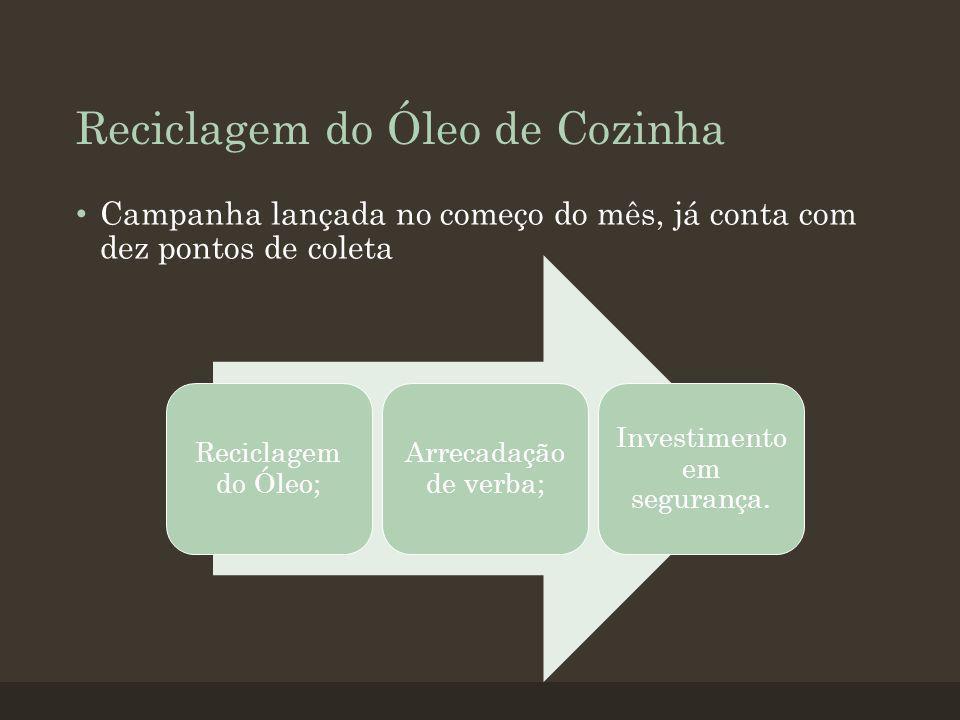 Reciclagem do Óleo de Cozinha Campanha lançada no começo do mês, já conta com dez pontos de coleta Reciclagem do Óleo; Arrecadação de verba; Investimento em segurança.