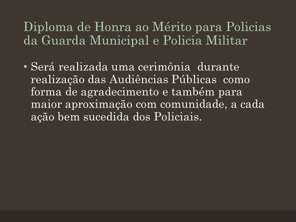 Diploma de Honra ao Mérito para Policias da Guarda Municipal e Policia Militar Será realizada uma cerimônia durante realização das Audiências Públicas