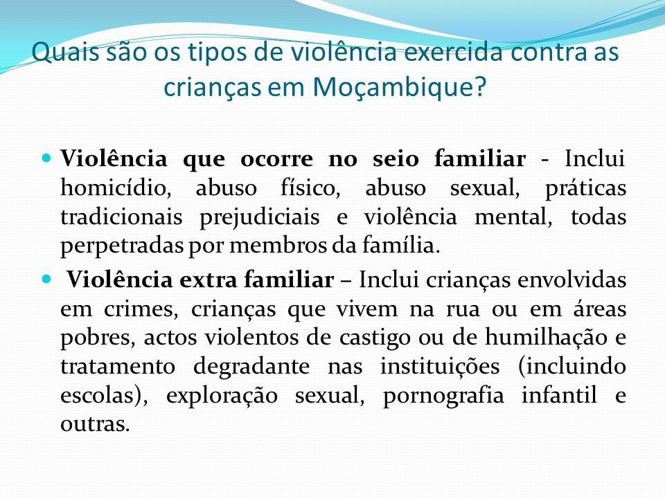 Quais são os tipos de violência exercida contra as crianças em Moçambique.