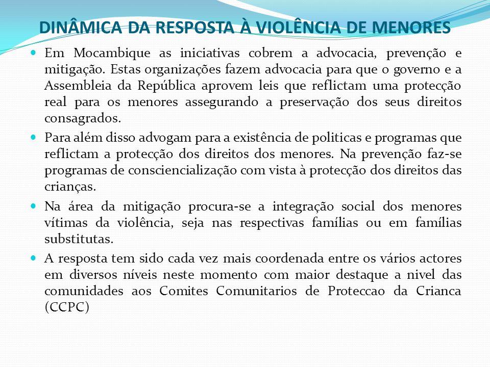 DINÂMICA DA RESPOSTA À VIOLÊNCIA DE MENORES Em Mocambique as iniciativas cobrem a advocacia, prevenção e mitigação.