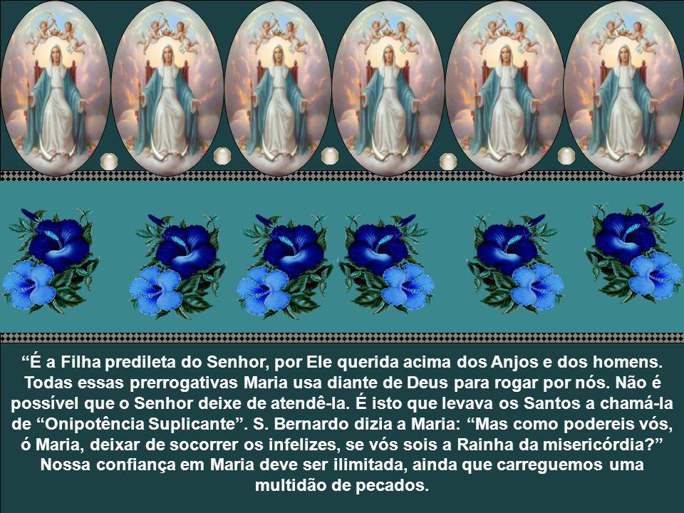 S. Luiz de Montfort, baseado em S. Boaventura, garante: No céu, Maria dá ordem aos anjos e aos bem-aventurados. Para compensar sua profunda humildade,
