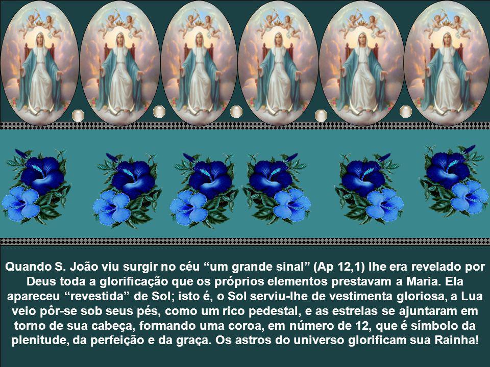 Elevada ao céu de corpo e alma, Nossa Senhora recebeu ali sua justa e merecida glorificação. A coroação de Nossa Senhora no céu não é um ato apenas si