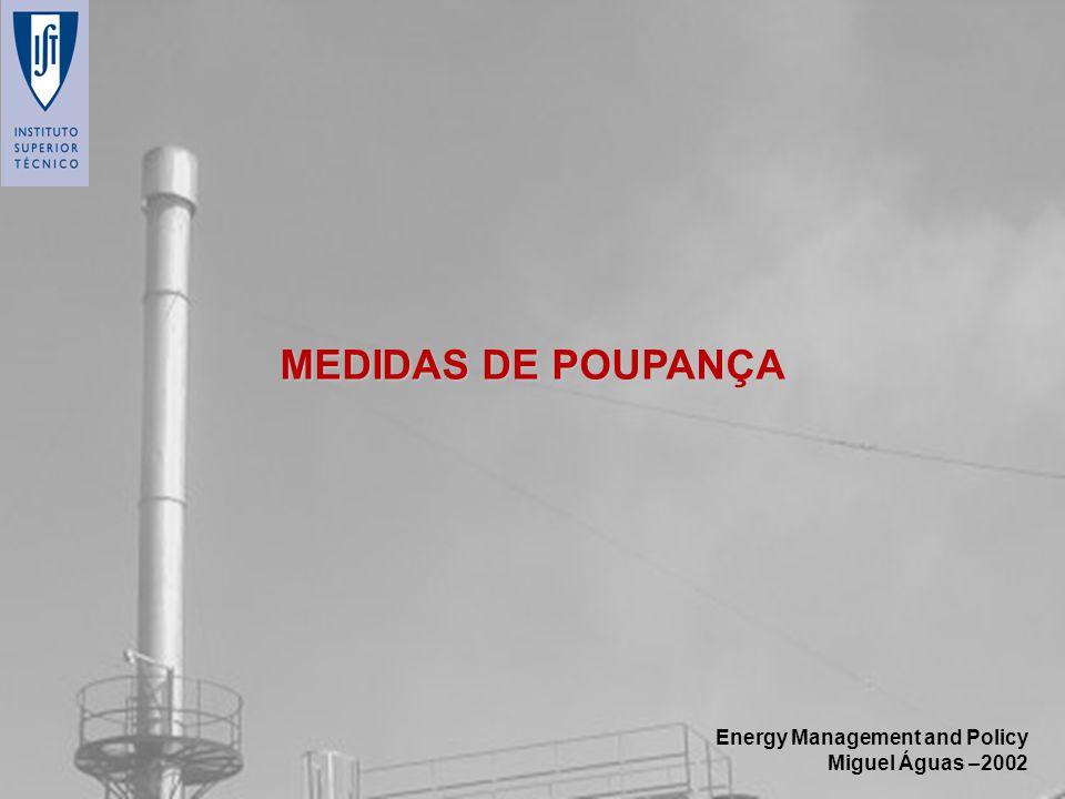 Energy Management and Policy Miguel Águas –2002 MEDIDAS DE POUPANÇA