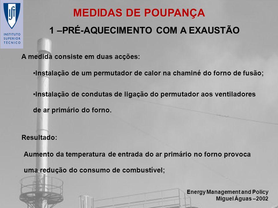 Energy Management and Policy Miguel Águas –2002 Aumento da temperatura de entrada do ar primário no forno provoca uma redução do consumo de combustíve