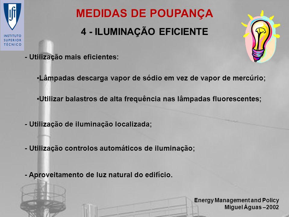 Energy Management and Policy Miguel Águas –2002 4 - ILUMINAÇÃO EFICIENTE - Aproveitamento de luz natural do edifício. - Utilização mais eficientes: Lâ