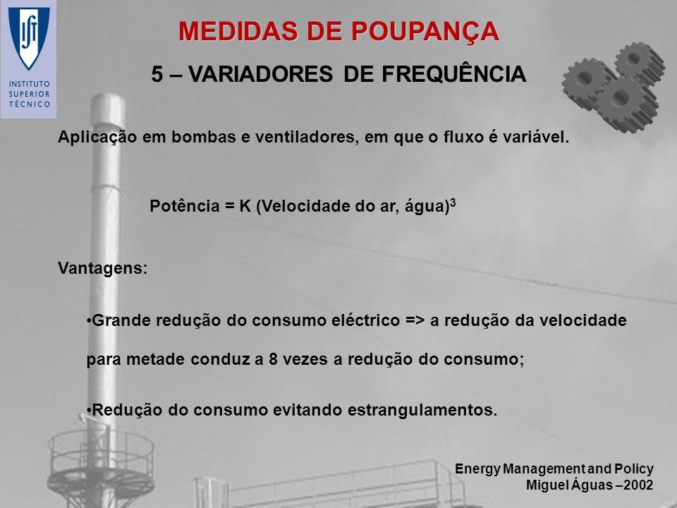 Energy Management and Policy Miguel Águas –2002 5 – VARIADORES DE FREQUÊNCIA Aplicação em bombas e ventiladores, em que o fluxo é variável. Grande red