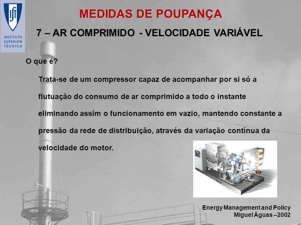 Energy Management and Policy Miguel Águas –2002 Trata-se de um compressor capaz de acompanhar por si só a flutuação do consumo de ar comprimido a todo