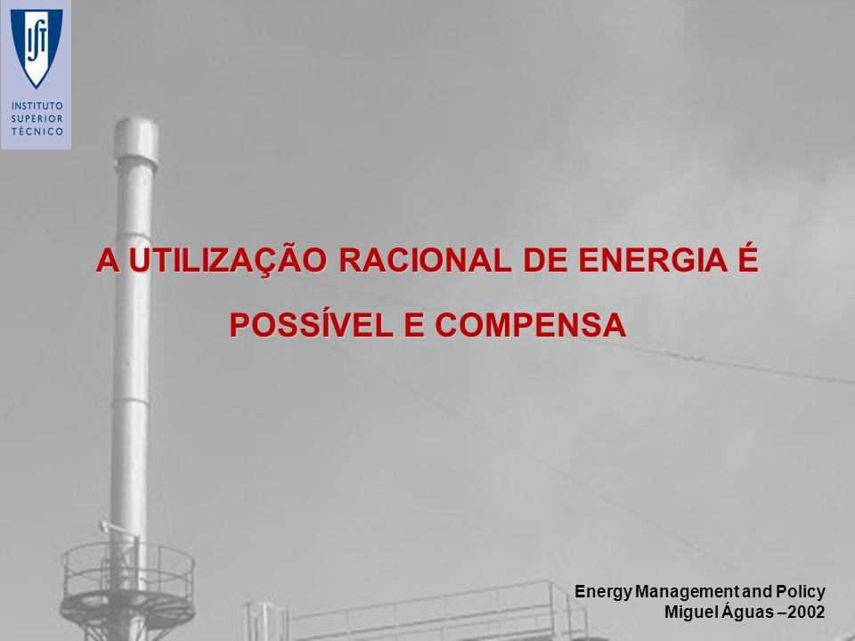 Energy Management and Policy Miguel Águas –2002 A UTILIZAÇÃO RACIONAL DE ENERGIA É POSSÍVEL E COMPENSA
