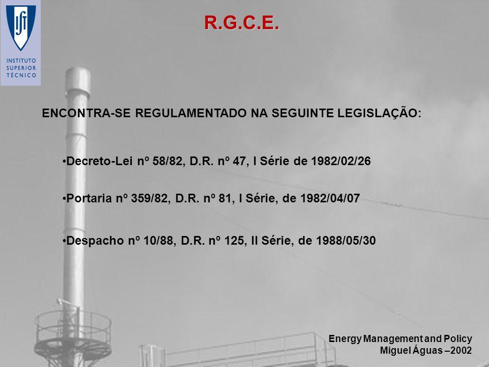 Energy Management and Policy Miguel Águas –2002 ENCONTRA-SE REGULAMENTADO NA SEGUINTE LEGISLAÇÃO: Decreto-Lei nº 58/82, D.R. nº 47, I Série de 1982/02