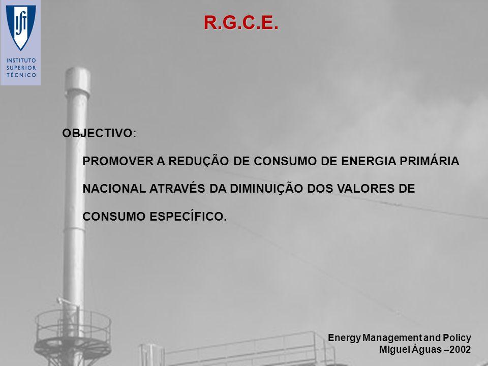 Energy Management and Policy Miguel Águas –2002 OBJECTIVO: PROMOVER A REDUÇÃO DE CONSUMO DE ENERGIA PRIMÁRIA NACIONAL ATRAVÉS DA DIMINUIÇÃO DOS VALORE