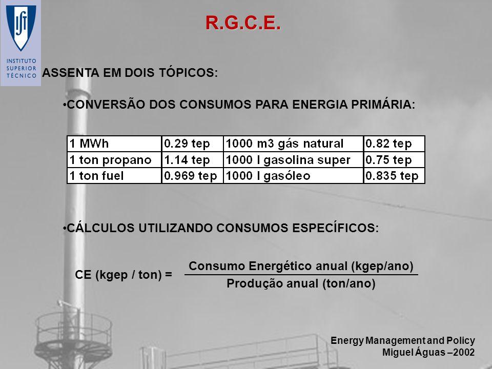 Energy Management and Policy Miguel Águas –2002 ASSENTA EM DOIS TÓPICOS: CONVERSÃO DOS CONSUMOS PARA ENERGIA PRIMÁRIA: CÁLCULOS UTILIZANDO CONSUMOS ES