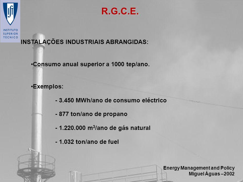 Energy Management and Policy Miguel Águas –2002 INSTALAÇÕES INDUSTRIAIS ABRANGIDAS: Consumo anual superior a 1000 tep/ano. Exemplos: - 3.450 MWh/ano d