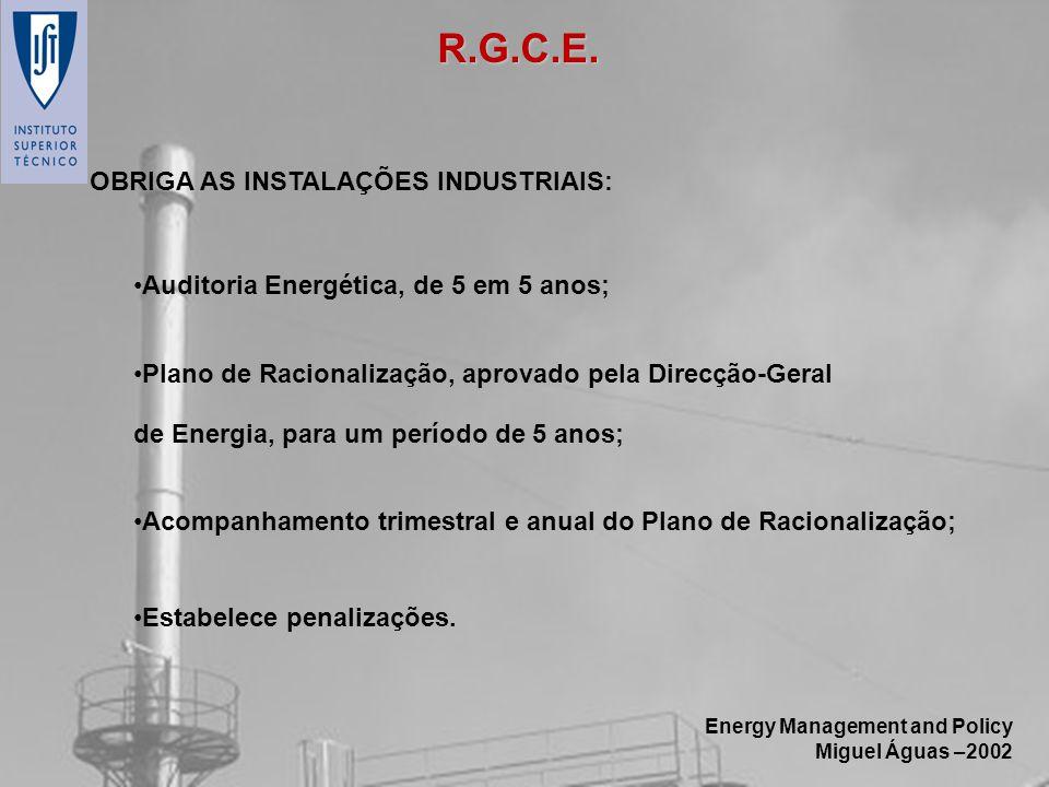 Energy Management and Policy Miguel Águas –2002 OBRIGA AS INSTALAÇÕES INDUSTRIAIS: Auditoria Energética, de 5 em 5 anos; Plano de Racionalização, apro