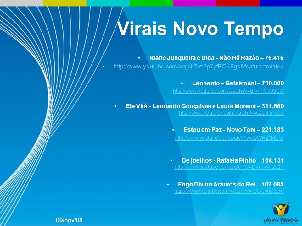 Riane Junqueira e Dida - Não Há Razão – 76.416 http://www.youtube.com/watch?v=2p7yfEOKFgo&feature=related Leonardo – Getsêmani – 780.000 http://www.yo