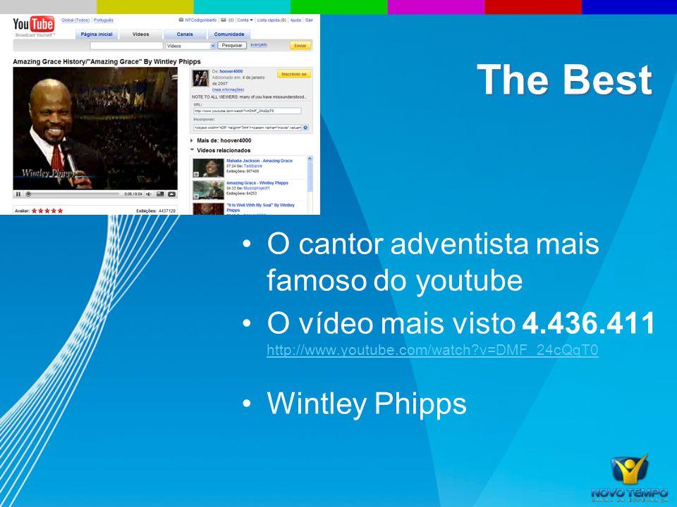 O cantor adventista mais famoso do youtube O vídeo mais visto 4.436.411 http://www.youtube.com/watch?v=DMF_24cQqT0 http://www.youtube.com/watch?v=DMF_