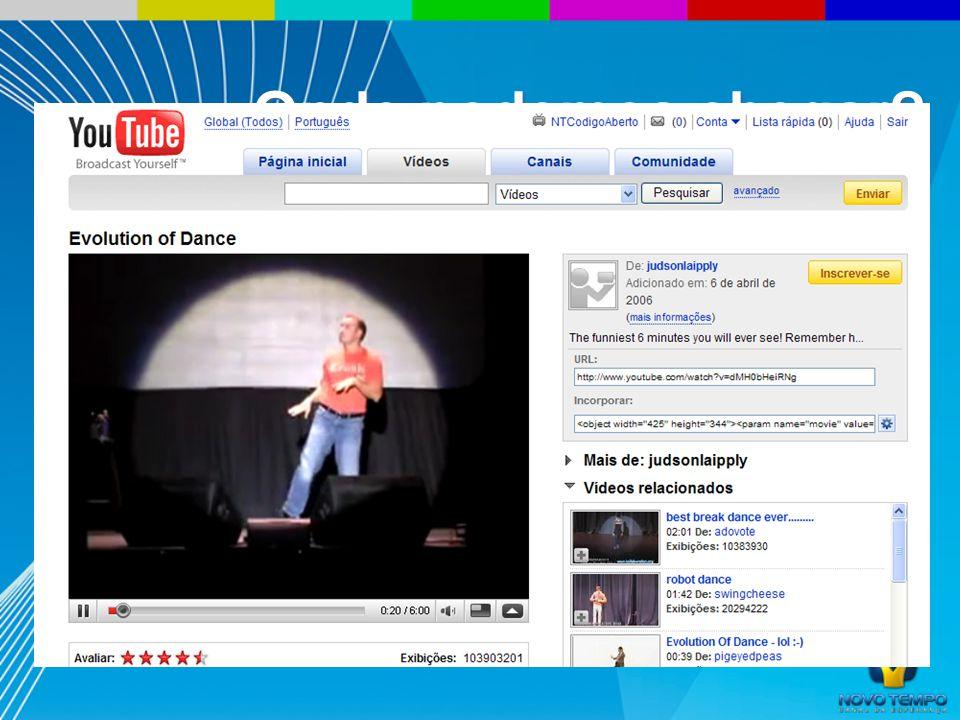 O vídeo mais assistido de todos os tempos http://www.youtube.com/watch?v=dMH0bHeiRNg 103 milhões de acessos Onde podemos chegar?