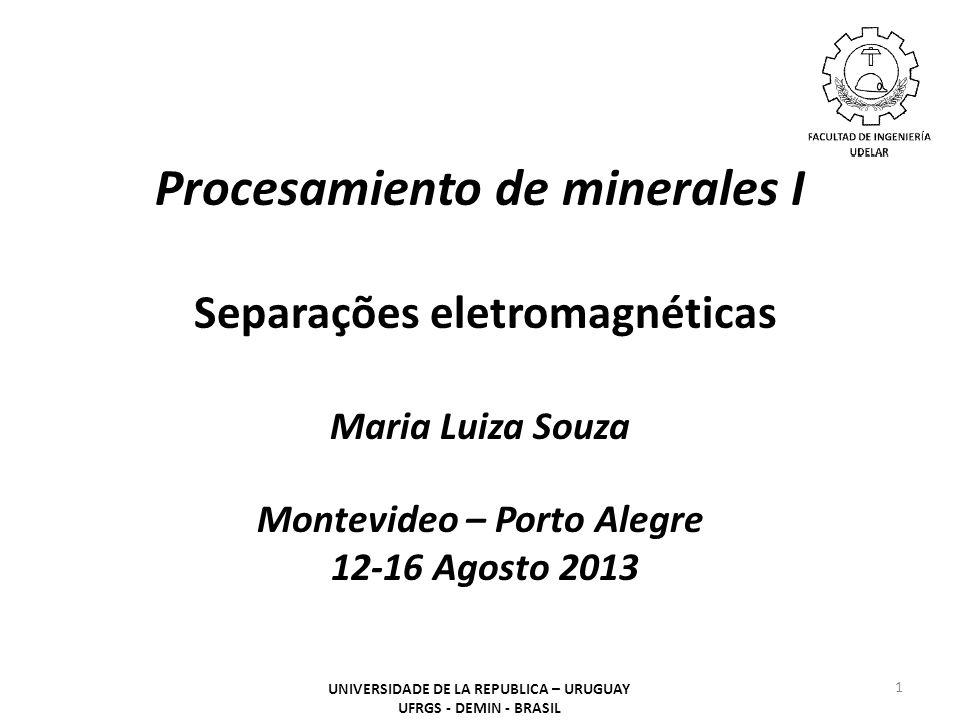 Capítulo 14 – Separações eletromagnéticas UNIVERSIDADE DE LA REPUBLICA – URUGUAY UFRGS - DEMIN - BRASIL 12 Principais Aplicações O processo de separação eletrostática tem aplicações limitadas, tanto no processamento de minérios quanto em outras áreas, podemos citar: - concentração de minérios de ilmenita, rutilo, zircão, apatita, amianto, hematita e outros; - purificação de alimentos, tal como, remoção de certas impurezas presentes nos cereais; - remoção do cobre presente em resíduos industriais reaproveitáveis; - purificação dos gases em chaminés industriais, por meio de precipitação eletrostática.
