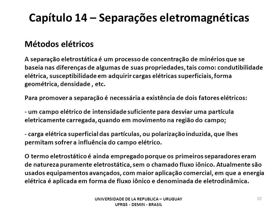 Capítulo 14 – Separações eletromagnéticas UNIVERSIDADE DE LA REPUBLICA – URUGUAY UFRGS - DEMIN - BRASIL 10 Métodos elétricos A separação eletrostática é um processo de concentração de minérios que se baseia nas diferenças de algumas de suas propriedades, tais como: condutibilidade elétrica, susceptibilidade em adquirir cargas elétricas superficiais, forma geométrica, densidade, etc.