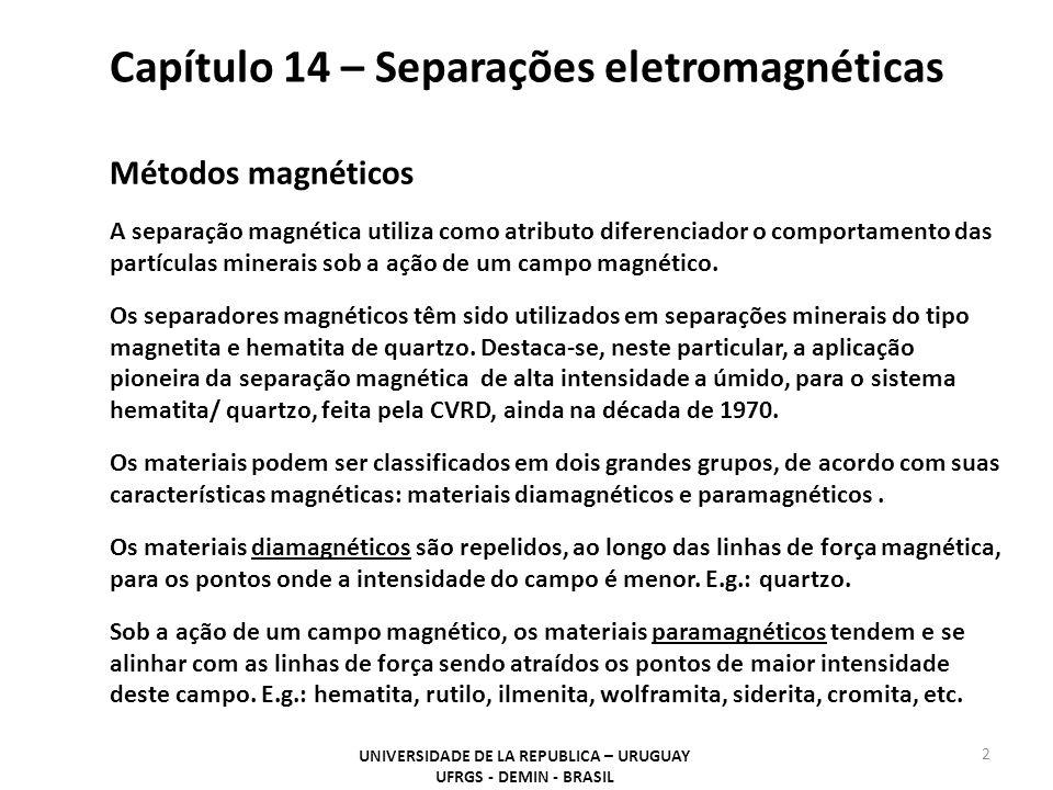 Capítulo 14 – Separações eletromagnéticas UNIVERSIDADE DE LA REPUBLICA – URUGUAY UFRGS - DEMIN - BRASIL 2 Métodos magnéticos A separação magnética utiliza como atributo diferenciador o comportamento das partículas minerais sob a ação de um campo magnético.