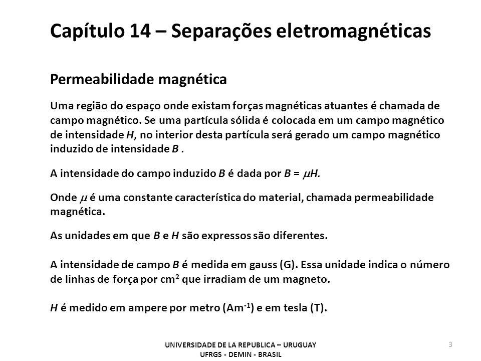 Capítulo 14 – Separações eletromagnéticas UNIVERSIDADE DE LA REPUBLICA – URUGUAY UFRGS - DEMIN - BRASIL 3 Permeabilidade magnética Uma região do espaço onde existam forças magnéticas atuantes é chamada de campo magnético.