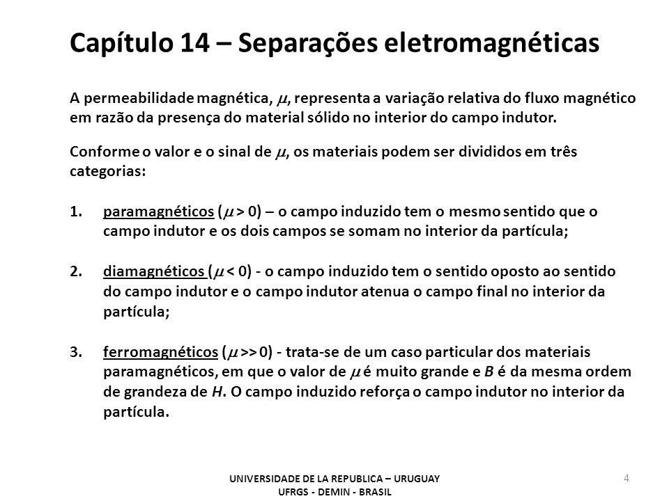 Capítulo 14 – Separações eletromagnéticas UNIVERSIDADE DE LA REPUBLICA – URUGUAY UFRGS - DEMIN - BRASIL 5 O Quadro abaixo fornece o valor da intensidade de campo necessária para a separação de alguns minerais e metais e a força magnética (referida ao ferro metálico como 100) gerada nesse campo [1].