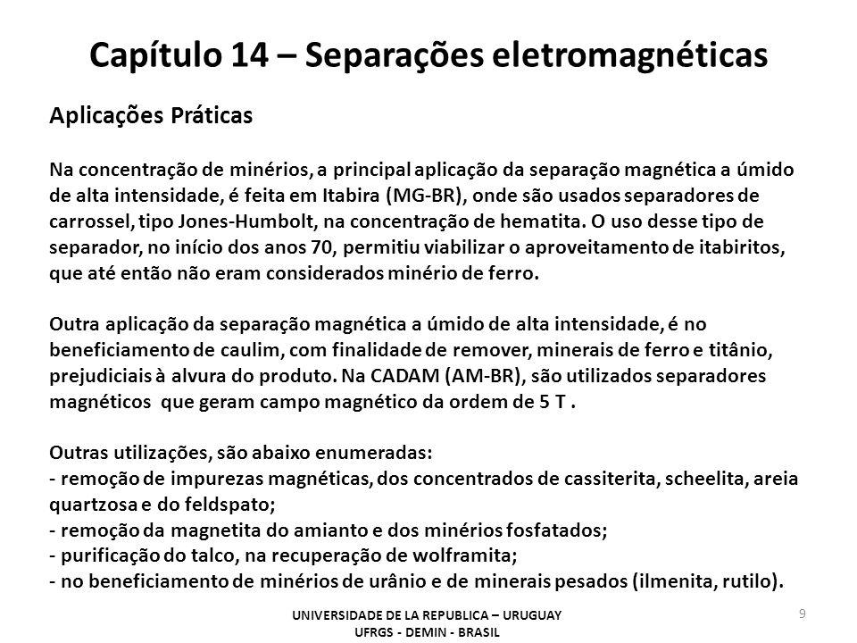 Capítulo 14 – Separações eletromagnéticas UNIVERSIDADE DE LA REPUBLICA – URUGUAY UFRGS - DEMIN - BRASIL 9 Aplicações Práticas Na concentração de minér