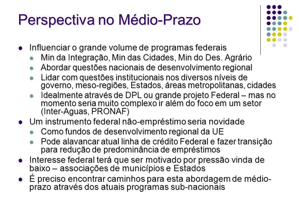Perspectiva no Médio-Prazo Influenciar o grande volume de programas federais Influenciar o grande volume de programas federais Min da Integração, Min
