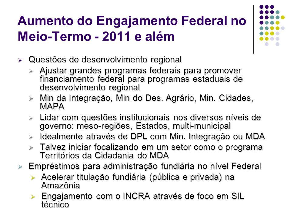 Aumento do Engajamento Federal no Meio-Termo - 2011 e além Questões de desenvolvimento regional Questões de desenvolvimento regional Ajustar grandes p