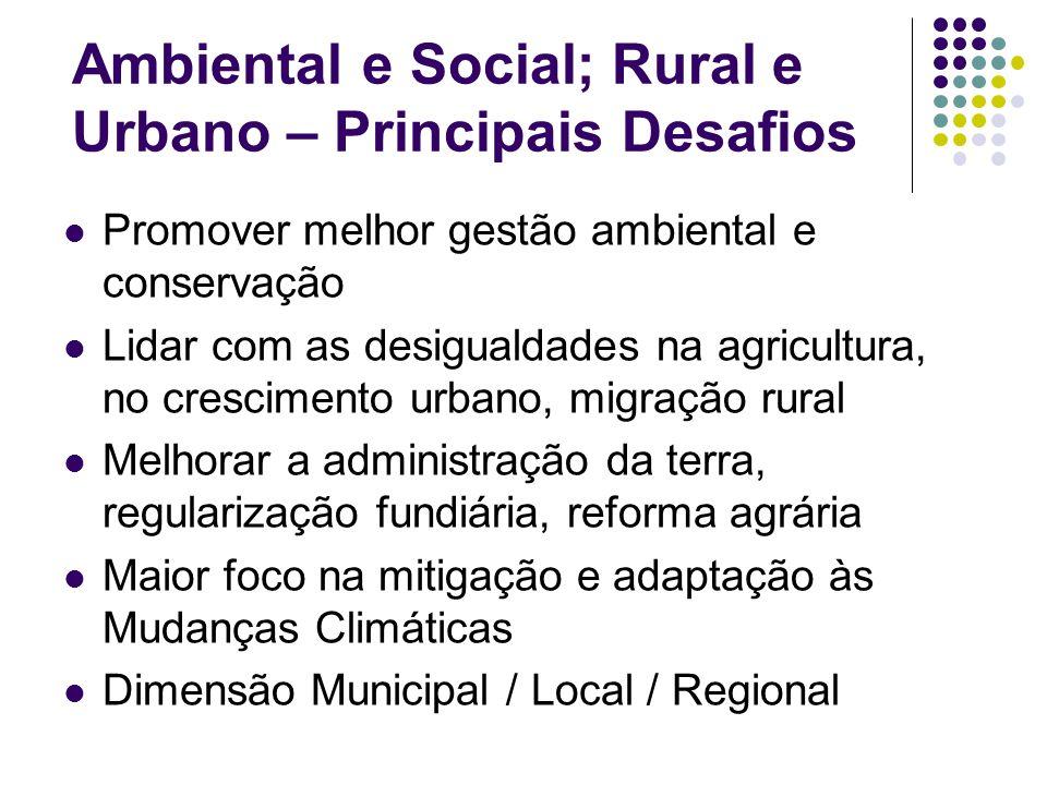 Ambiental e Social; Rural e Urbano – Principais Desafios Promover melhor gestão ambiental e conservação Lidar com as desigualdades na agricultura, no