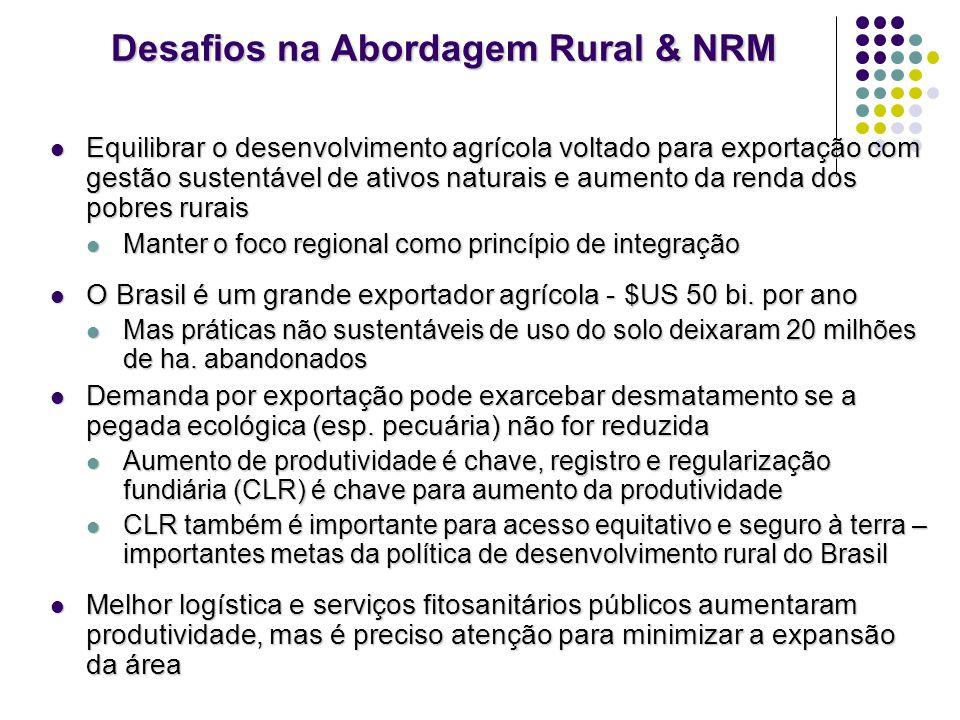 Desafios na Abordagem Rural & NRM Equilibrar o desenvolvimento agrícola voltado para exportação com gestão sustentável de ativos naturais e aumento da
